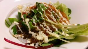 冠地鶏の生ハムサラダ